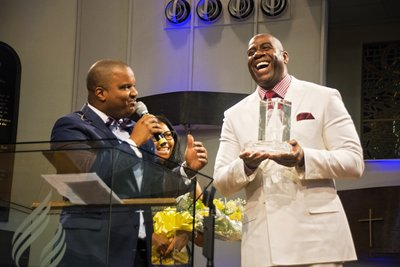 "Oakwood University Church honors professional basketball legend Earwin ""Magic"" Johnson for his service to disenfranchised communities"
